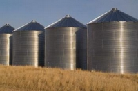 Shiny silos all in a row